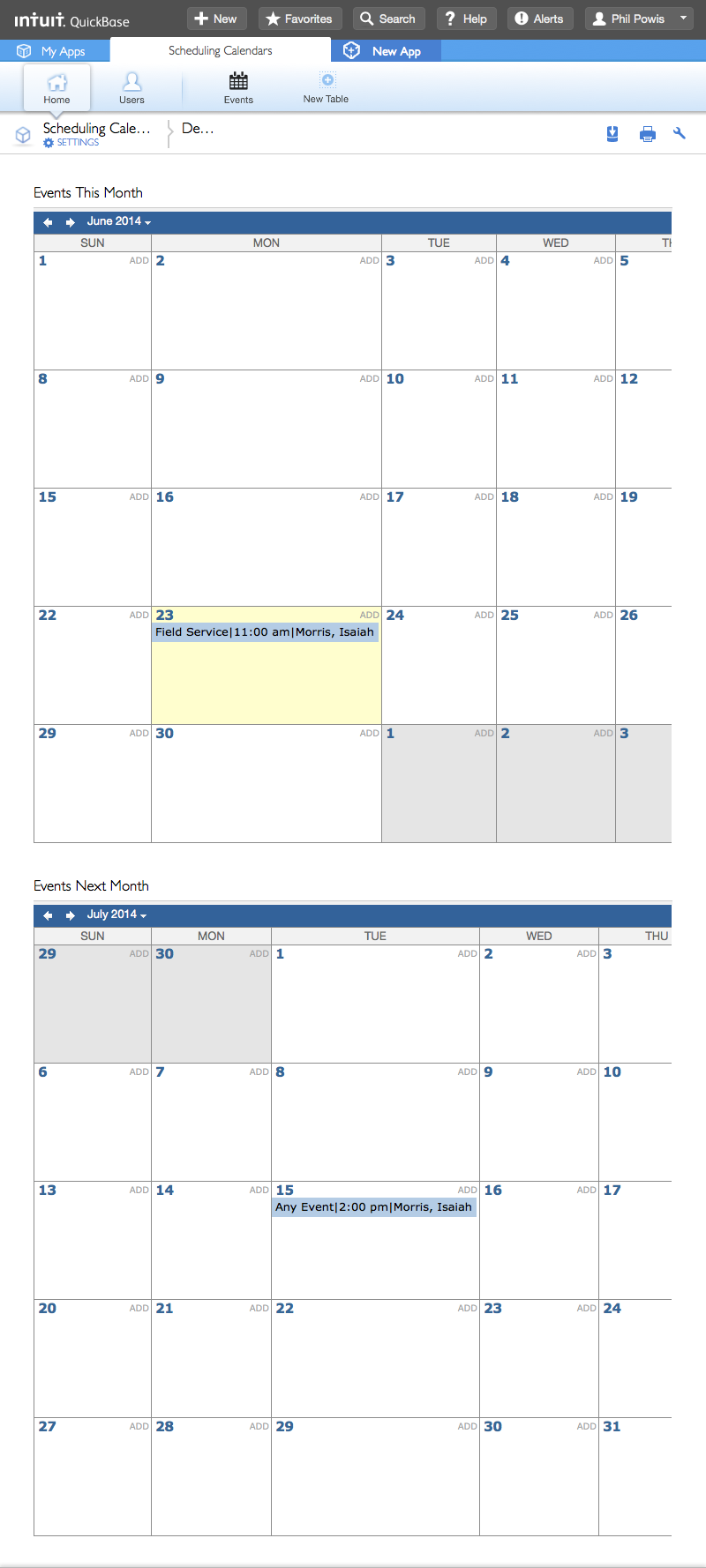 scheduling calendars quick base