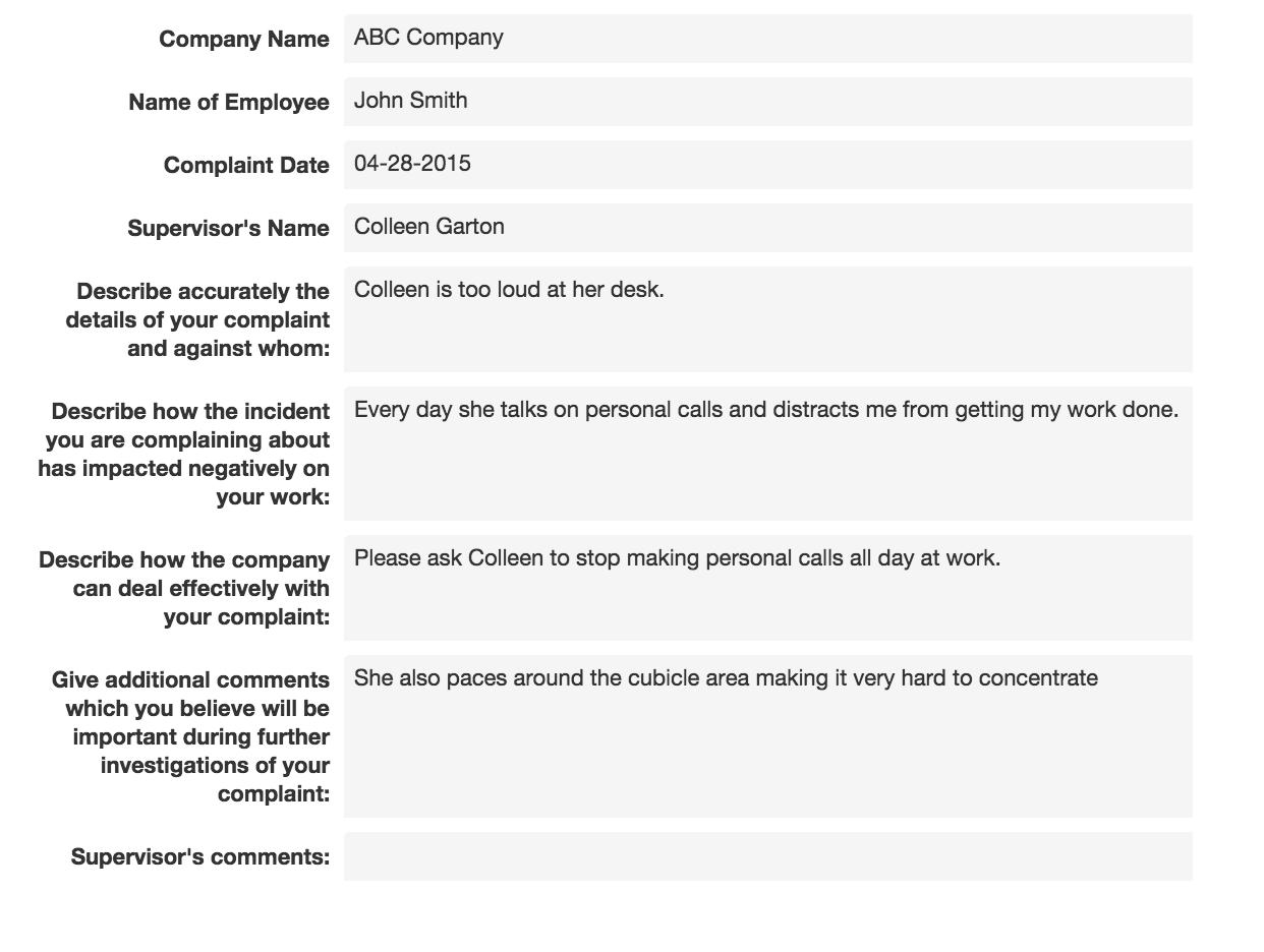 Employee Complaint Form – Employee Complaint Form