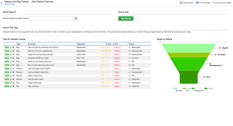 bug tracker spreadsheet